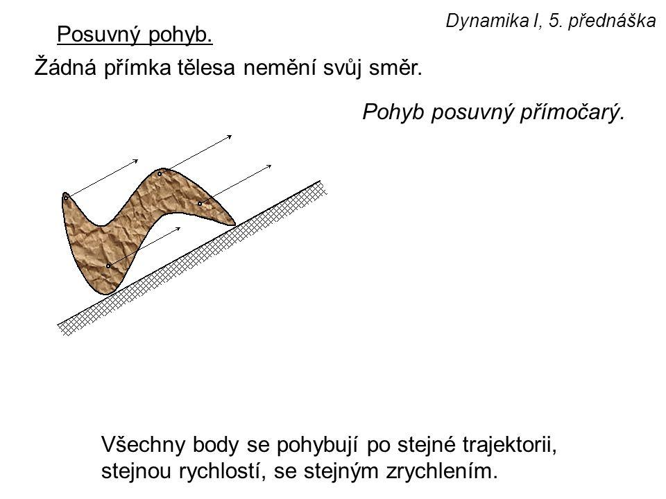 Dynamika I, 5. přednáška Posuvný pohyb. Žádná přímka tělesa nemění svůj směr. Všechny body se pohybují po stejné trajektorii, stejnou rychlostí, se st