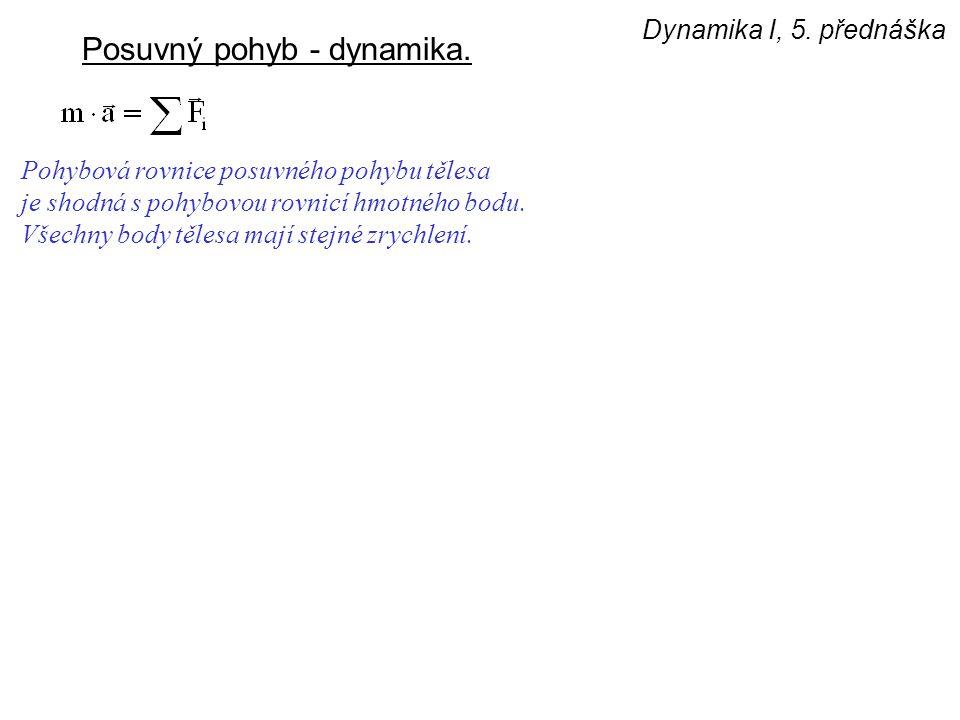 Dynamika I, 5. přednáška Posuvný pohyb - dynamika. Pohybová rovnice posuvného pohybu tělesa je shodná s pohybovou rovnicí hmotného bodu. Všechny body