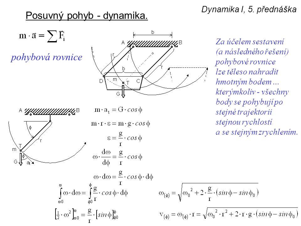 Dynamika I, 5. přednáška Posuvný pohyb - dynamika. Za účelem sestavení (a následného řešení) pohybové rovnice lze těleso nahradit hmotným bodem... kte