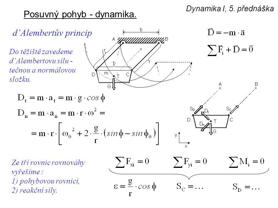 Dynamika I, 5. přednáška Posuvný pohyb - dynamika. d'Alembertův princip Do těžiště zavedeme d'Alembertovu sílu - tečnou a normálovou složku. Ze tří ro