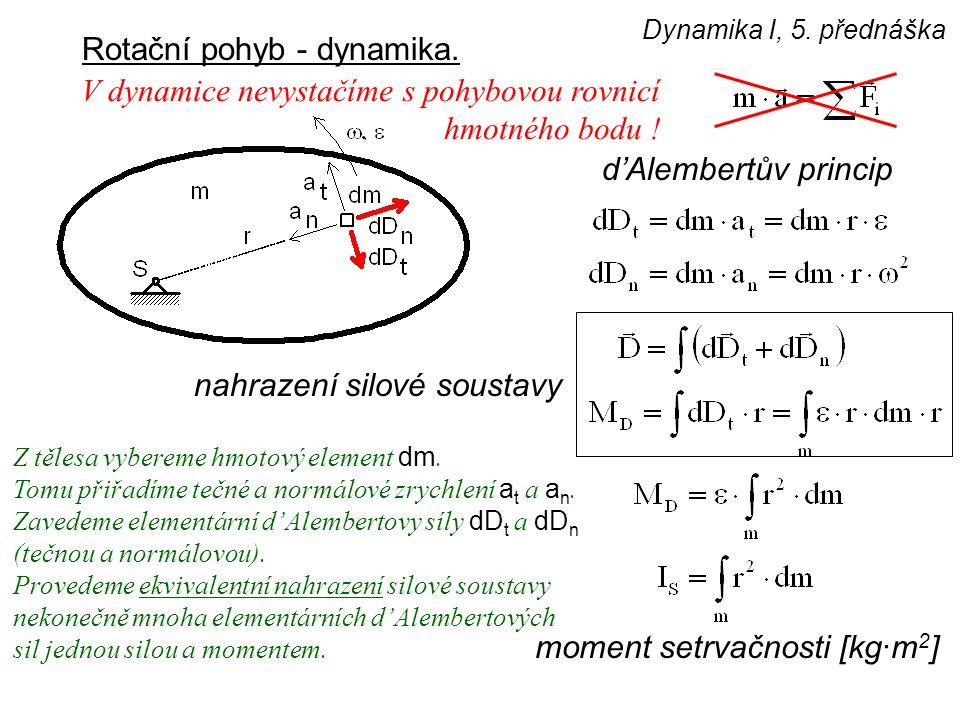 Dynamika I, 5. přednáška Rotační pohyb - dynamika. d'Alembertův princip nahrazení silové soustavy V dynamice nevystačíme s pohybovou rovnicí hmotného