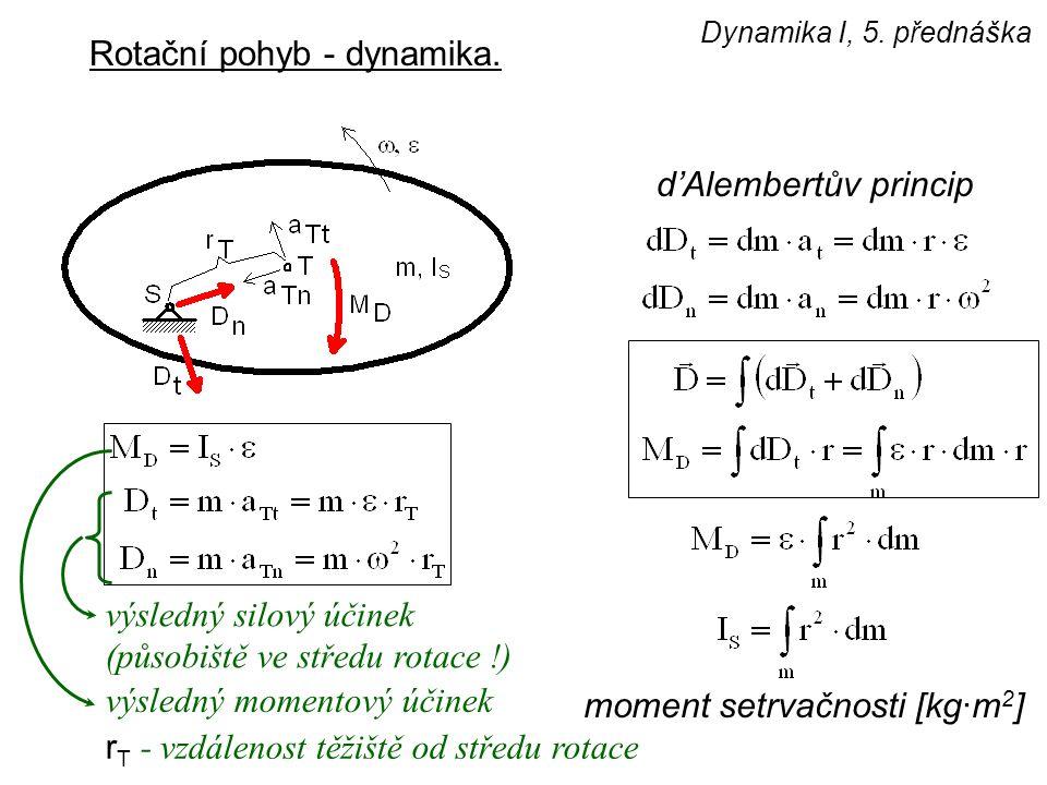 Dynamika I, 5. přednáška Rotační pohyb - dynamika. d'Alembertův princip moment setrvačnosti [kg·m 2 ] výsledný silový účinek (působiště ve středu rota