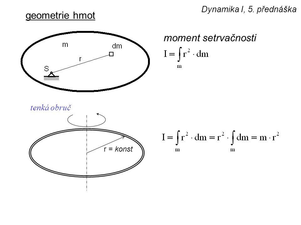 Dynamika I, 5. přednáška geometrie hmot moment setrvačnosti r = konst tenká obruč