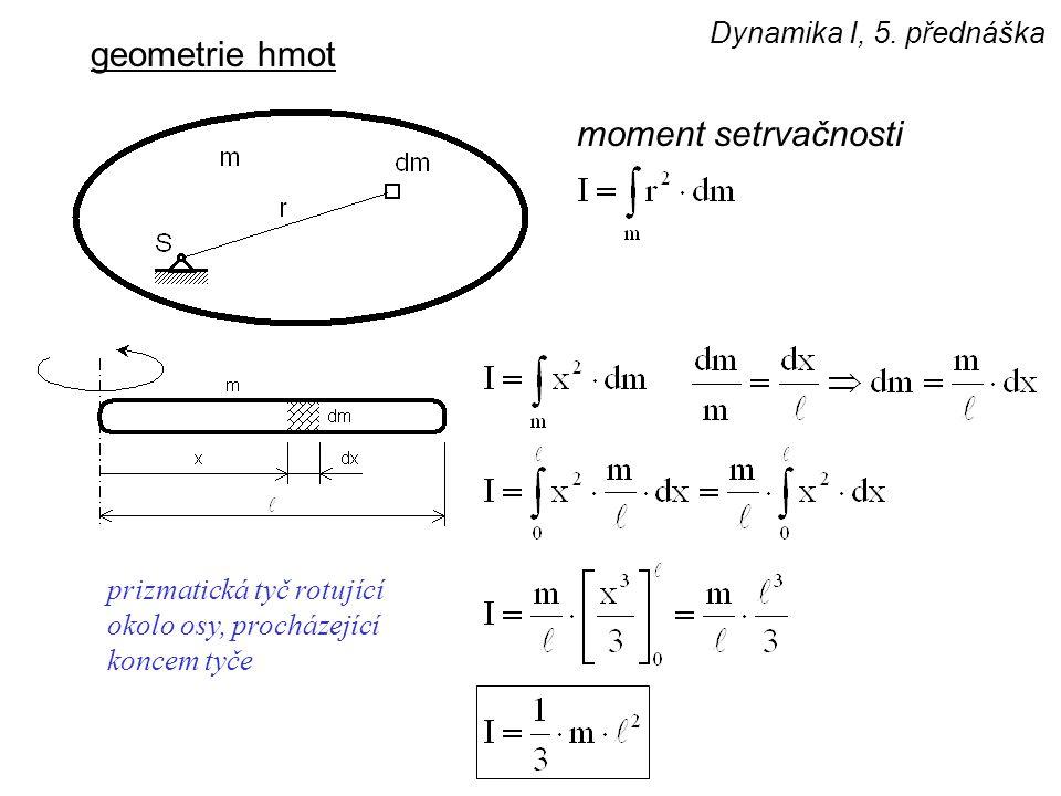 Dynamika I, 5. přednáška geometrie hmot moment setrvačnosti prizmatická tyč rotující okolo osy, procházející koncem tyče