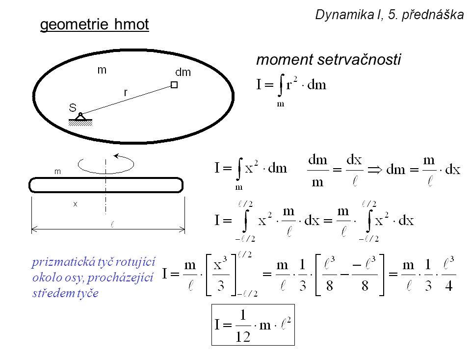 Dynamika I, 5. přednáška geometrie hmot moment setrvačnosti prizmatická tyč rotující okolo osy, procházející středem tyče