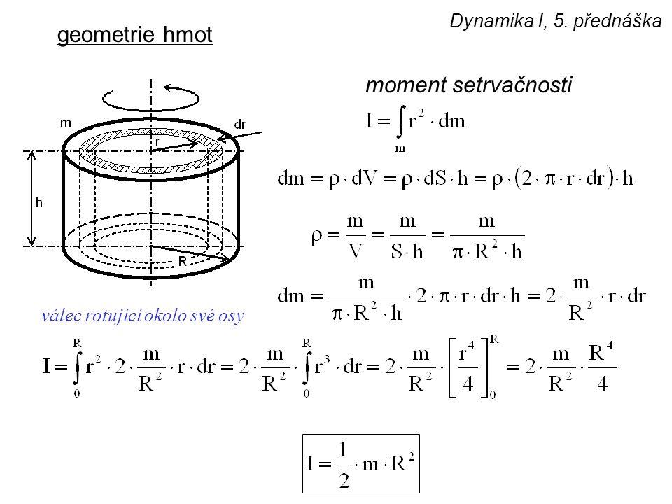 Dynamika I, 5. přednáška geometrie hmot moment setrvačnosti válec rotující okolo své osy