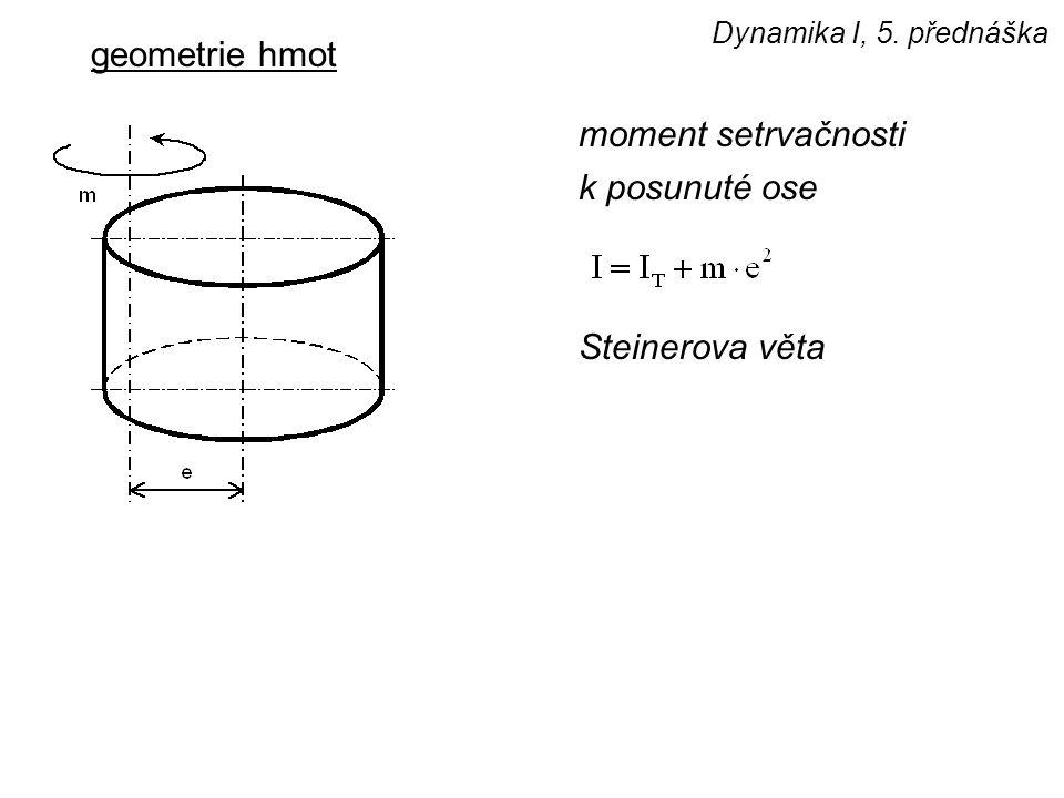 Dynamika I, 5. přednáška geometrie hmot moment setrvačnosti k posunuté ose Steinerova věta