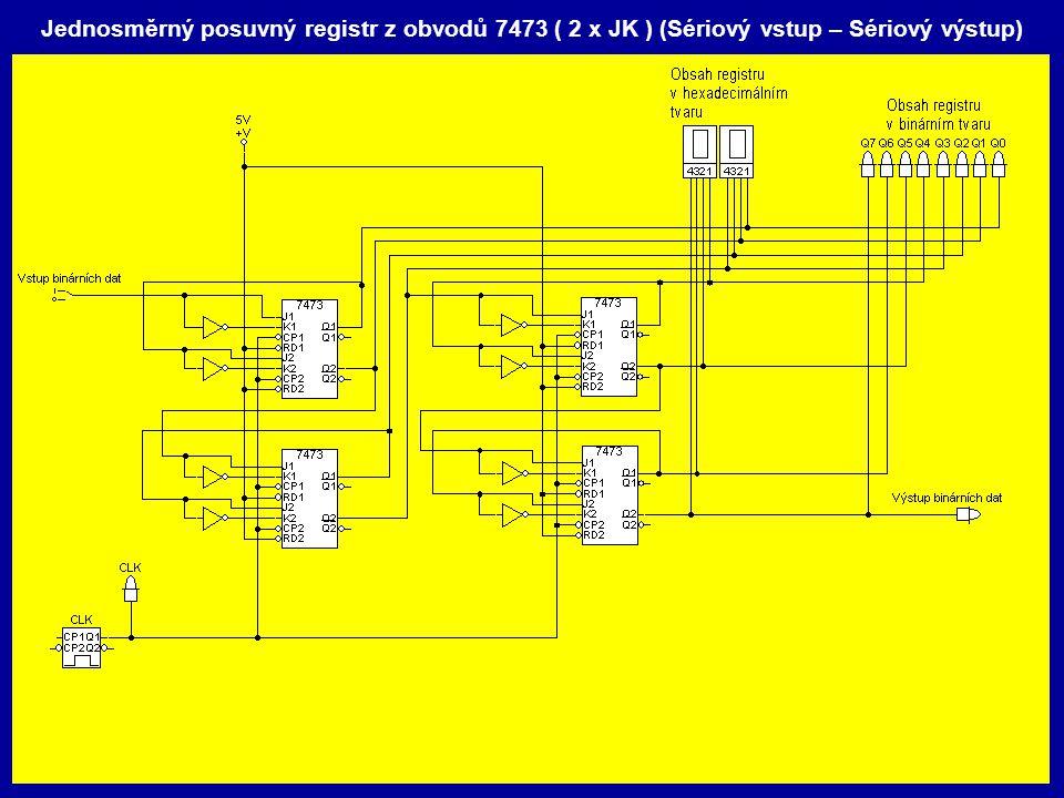 Jednosměrný posuvný registr z obvodů 7473 ( 2 x JK ) (Sériový vstup – Sériový výstup)