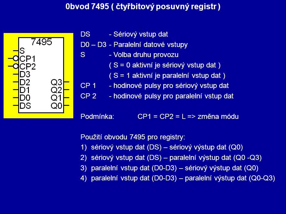 0bvod 7495 ( čtyřbitový posuvný registr ) DS- Sériový vstup dat D0 – D3 - Paralelní datové vstupy S - Volba druhu provozu ( S = 0 aktivní je sériový v