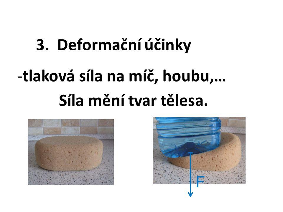 3. Deformační účinky -tlaková síla na míč, houbu,… F Síla mění tvar tělesa.