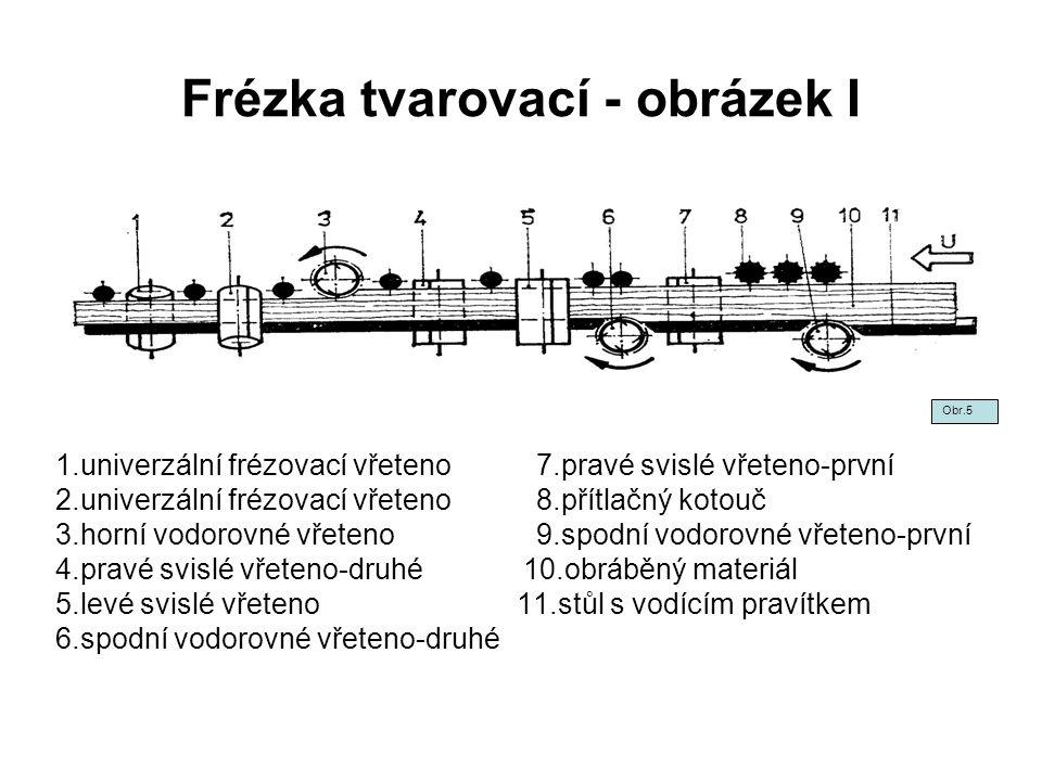 Frézka tvarovací - obrázek I 1.univerzální frézovací vřeteno 7.pravé svislé vřeteno-první 2.univerzální frézovací vřeteno 8.přítlačný kotouč 3.horní v