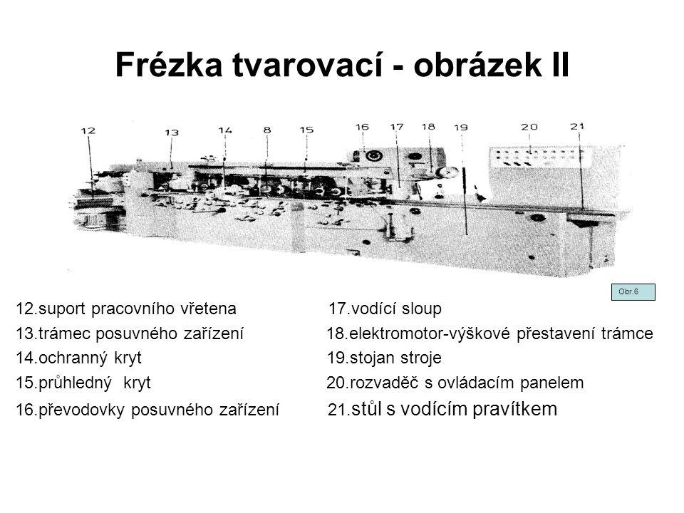Frézka tvarovací - obrázek II 12.suport pracovního vřetena 17.vodící sloup 13.trámec posuvného zařízení 18.elektromotor-výškové přestavení trámce 14.o