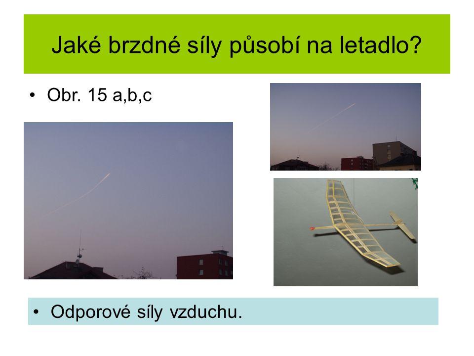 Jaké brzdné síly působí na letadlo Odporové síly vzduchu. Obr. 15 a,b,c