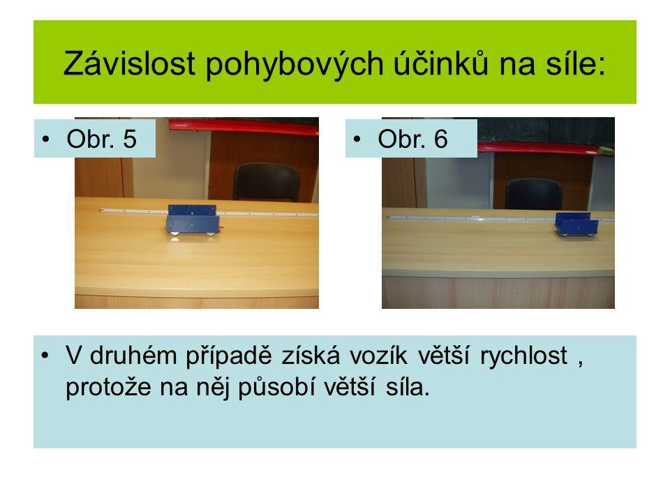 Závislost pohybových účinků na síle: V druhém případě získá vozík větší rychlost, protože na něj působí větší síla.