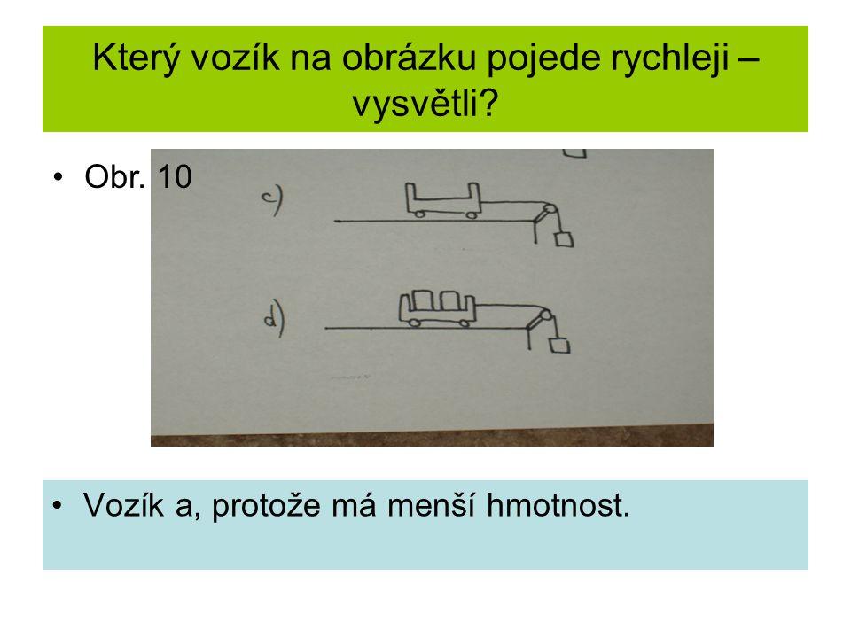 Který vozík na obrázku pojede rychleji – vysvětli Vozík a, protože má menší hmotnost. Obr. 10