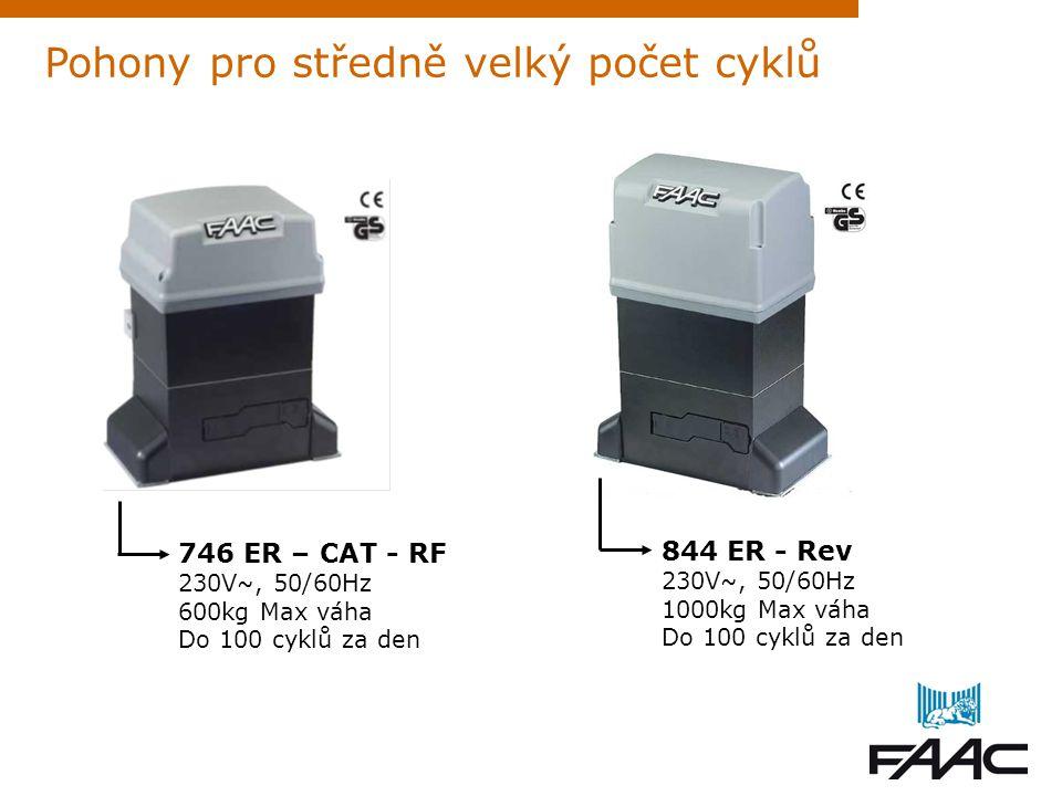 Pohony pro středně velký počet cyklů 746 ER – CAT - RF 230V ~, 50/60Hz 600kg Max váha Do 100 cyklů za den 844 ER - Rev 230V ~, 50/60Hz 1000kg Max váha
