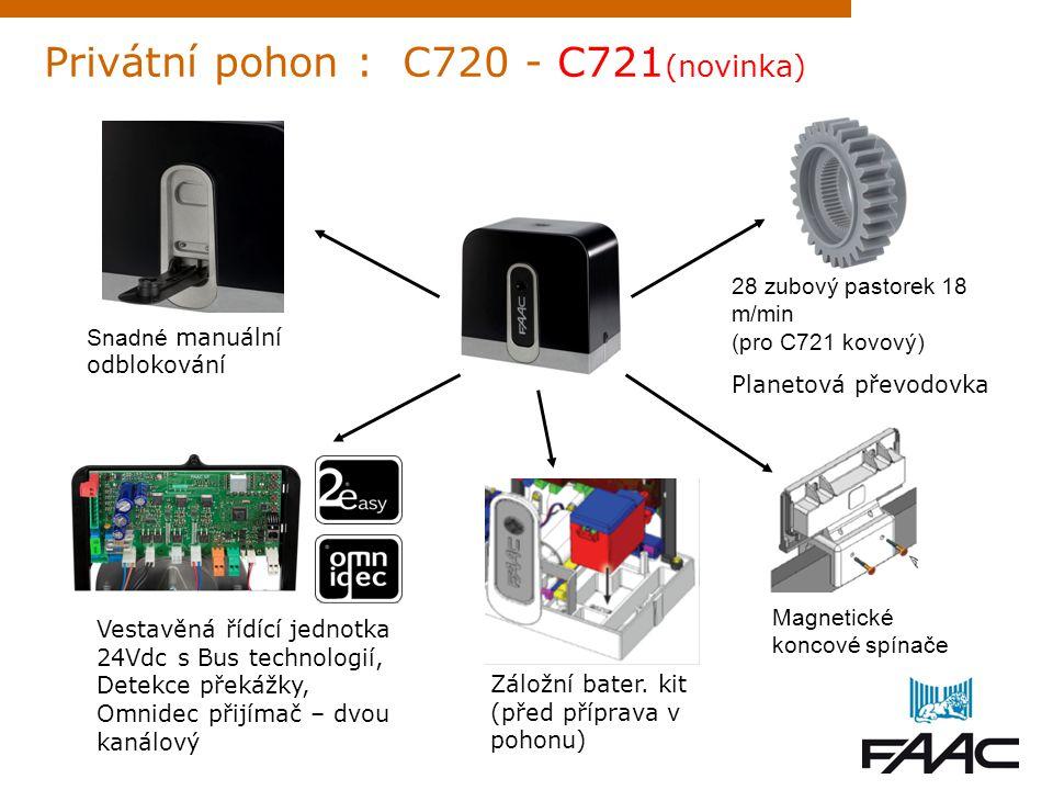 Privátní pohon : 740 - 741 16-ti zubový pastorek 12 m/min Vestavěná řídící jednotka (výklopná) Snadné manuální odblokování klíčem Možno doplnit ENCODER pro detekci překážky Magnetické koncové spínače