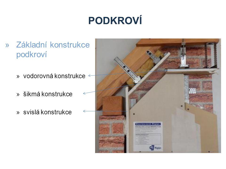 PODKROVÍ »Základní konstrukce podkroví »vodorovná konstrukce »šikmá konstrukce »svislá konstrukce