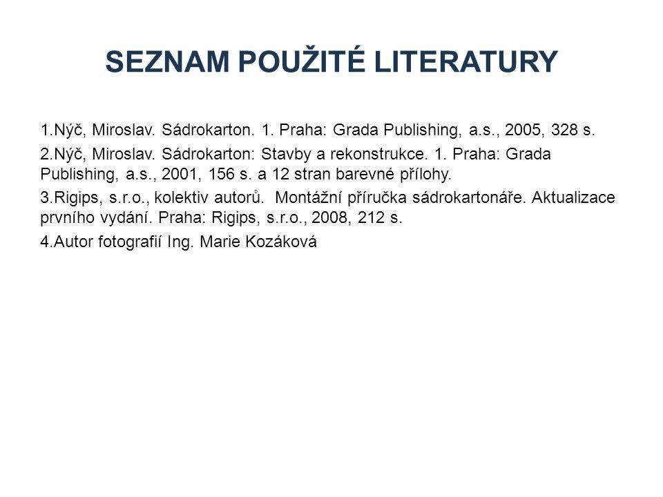 1.Nýč, Miroslav. Sádrokarton. 1. Praha: Grada Publishing, a.s., 2005, 328 s. 2.Nýč, Miroslav. Sádrokarton: Stavby a rekonstrukce. 1. Praha: Grada Publ