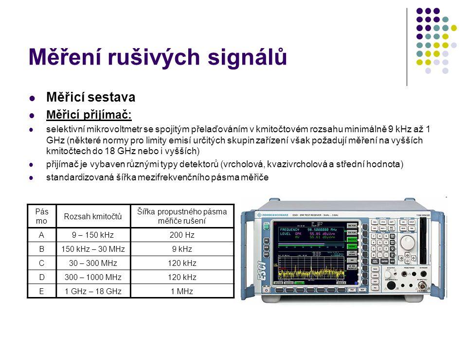 Měření rušivých signálů Měřicí sestava Měřicí přijímač: selektivní mikrovoltmetr se spojitým přelaďováním v kmitočtovém rozsahu minimálně 9 kHz až 1 GHz (některé normy pro limity emisí určitých skupin zařízení však požadují měření na vyšších kmitočtech do 18 GHz nebo i vyšších) přijímač je vybaven různými typy detektorů (vrcholová, kvazivrcholová a střední hodnota) standardizovaná šířka mezifrekvenčního pásma měřiče Pás mo Rozsah kmitočtů Šířka propustného pásma měřiče rušení A9 – 150 kHz200 Hz B150 kHz – 30 MHz9 kHz C30 – 300 MHz120 kHz D300 – 1000 MHz120 kHz E1 GHz – 18 GHz1 MHz