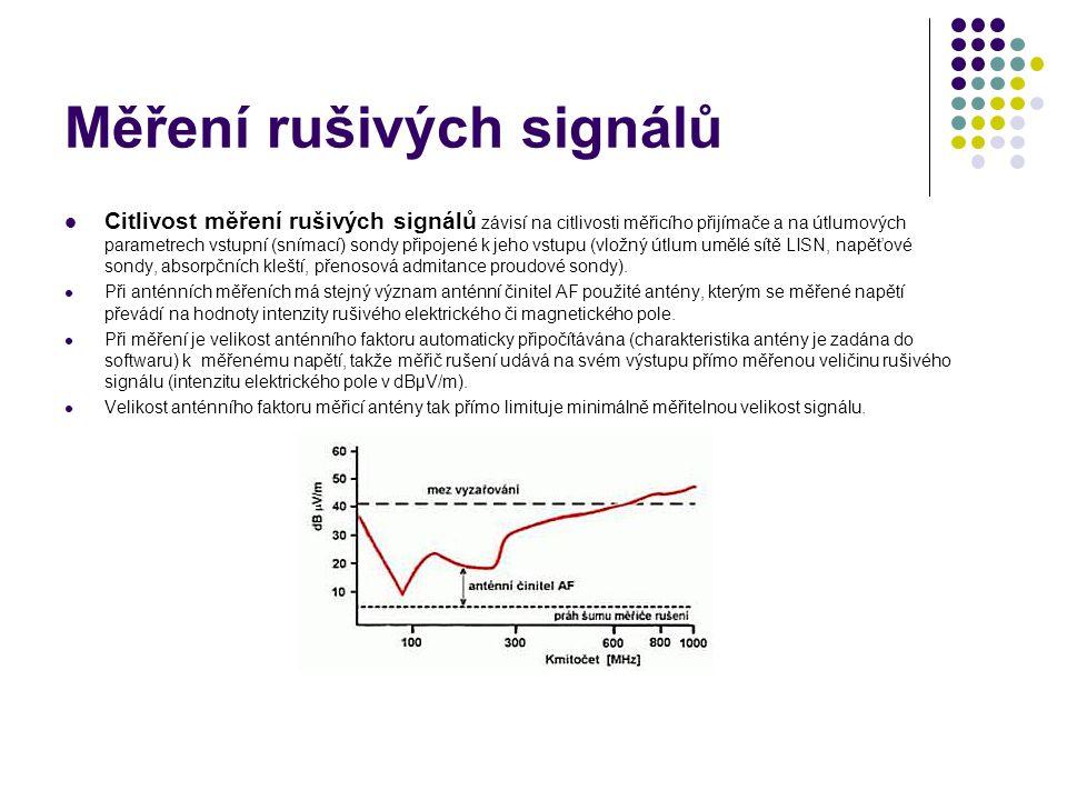 Měření rušivých signálů Citlivost měření rušivých signálů závisí na citlivosti měřicího přijímače a na útlumových parametrech vstupní (snímací) sondy připojené k jeho vstupu (vložný útlum umělé sítě LISN, napěťové sondy, absorpčních kleští, přenosová admitance proudové sondy).