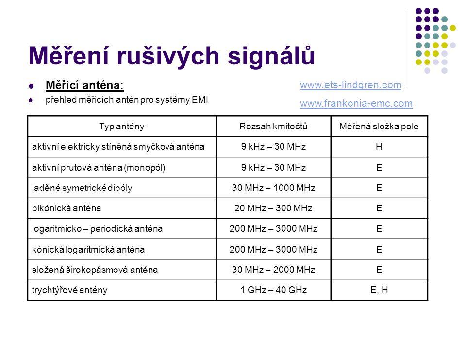 Měření rušivých signálů Měřicí anténa: přehled měřicích antén pro systémy EMI Typ antényRozsah kmitočtůMěřená složka pole aktivní elektricky stíněná smyčková anténa9 kHz – 30 MHzH aktivní prutová anténa (monopól)9 kHz – 30 MHzE laděné symetrické dipóly30 MHz – 1000 MHzE bikónická anténa20 MHz – 300 MHzE logaritmicko – periodická anténa200 MHz – 3000 MHzE kónická logaritmická anténa200 MHz – 3000 MHzE složená širokopásmová anténa30 MHz – 2000 MHzE trychtýřové antény1 GHz – 40 GHzE, H www.ets-lindgren.com www.frankonia-emc.com