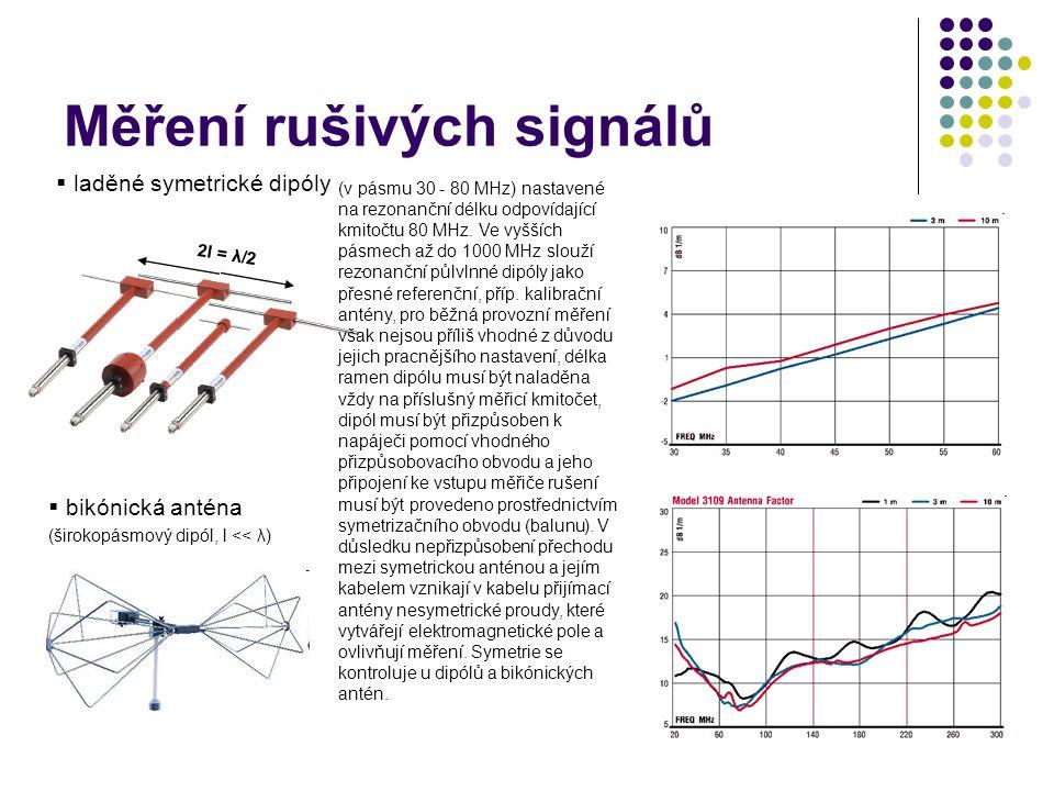 Měření rušivých signálů  laděné symetrické dipóly  bikónická anténa (širokopásmový dipól, l << λ) (v pásmu 30 - 80 MHz) nastavené na rezonanční délku odpovídající kmitočtu 80 MHz.