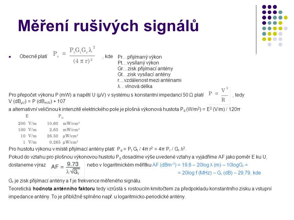 Měření rušivých signálů Obecně platí, kde Pro přepočet výkonu P (mW) a napětí U (µV) v systému s konstantní impedancí 50 Ω platí, tedy V (dB µV ) = P (dB mW ) + 107 a alternativní veličinou k intenzitě elektrického pole je plošná výkonová hustota P d (W/m 2 ) = E 2 (V/m) / 120π Pro hustotu výkonu v místě přijímací antény platí: P d = P t G t / 4π r 2 = 4π P r / G r λ 2.