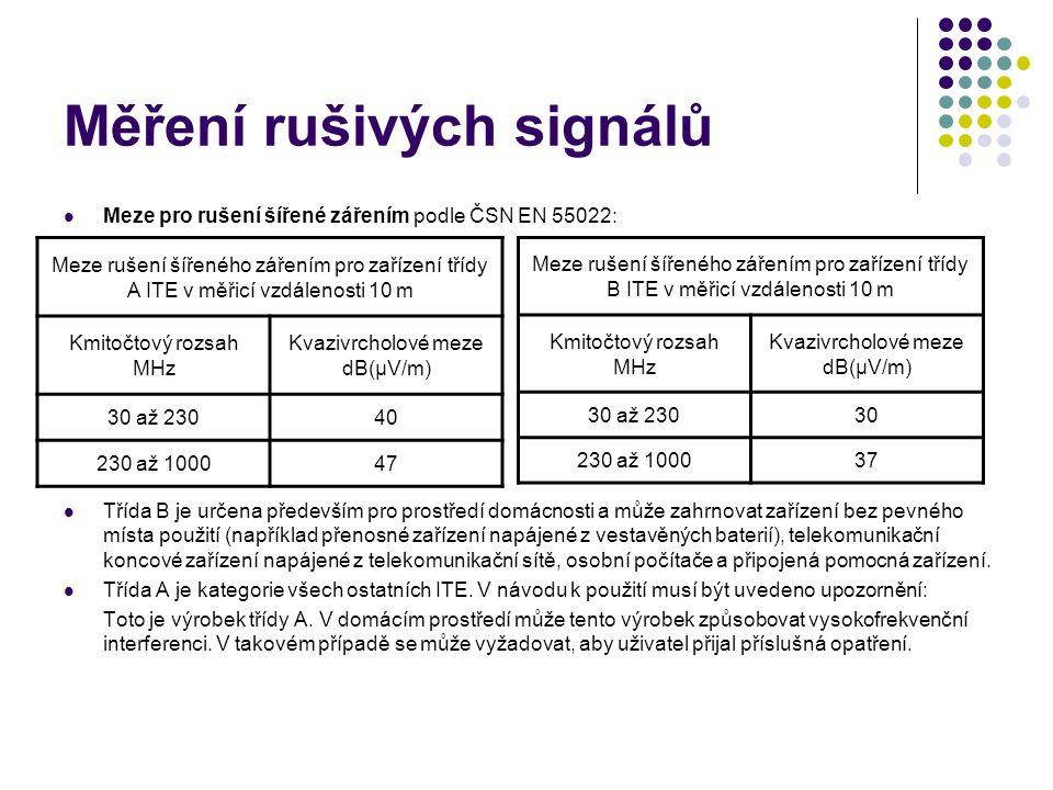 Meze pro rušení šířené zářením podle ČSN EN 55022: Třída B je určena především pro prostředí domácnosti a může zahrnovat zařízení bez pevného místa po