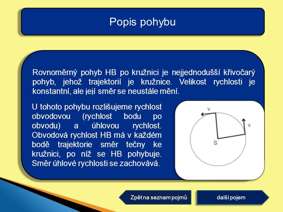 Rovnoměrný pohyb HB po kružnici je nejjednodušší křivočarý pohyb, jehož trajektorií je kružnice.