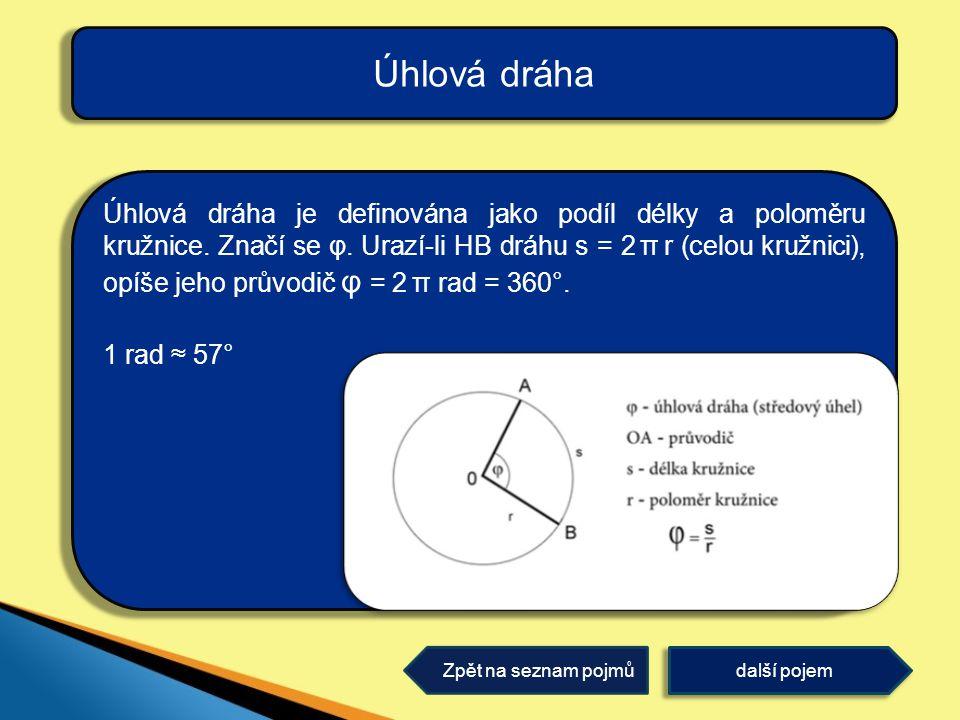 Úhlová dráha je definována jako podíl délky a poloměru kružnice. Značí se φ. Urazí-li HB dráhu s = 2 π r (celou kružnici), opíše jeho průvodič φ = 2 π