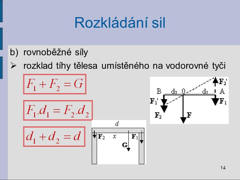 Rozkládání sil b)rovnoběžné síly  rozklad tíhy tělesa umístěného na vodorovné tyči 14