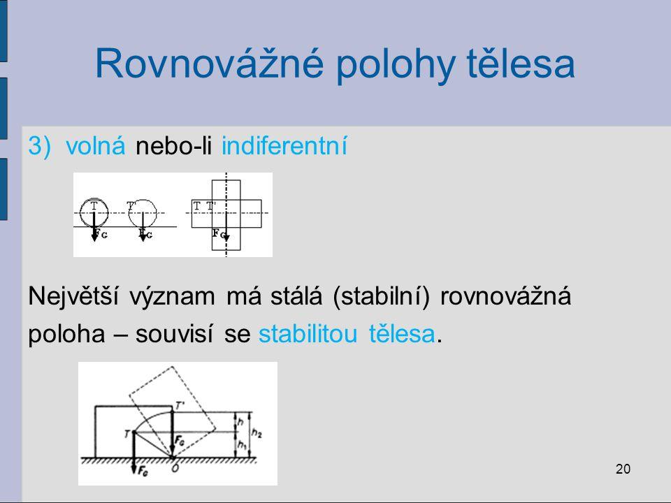 Rovnovážné polohy tělesa 3)volná nebo-li indiferentní Největší význam má stálá (stabilní) rovnovážná poloha – souvisí se stabilitou tělesa. 20