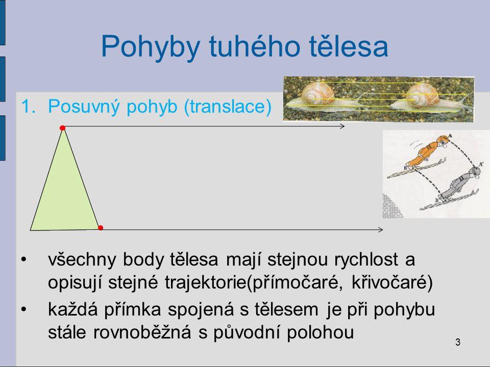 Pohyby tuhého tělesa 1.Posuvný pohyb (translace) všechny body tělesa mají stejnou rychlost a opisují stejné trajektorie(přímočaré, křivočaré) každá př