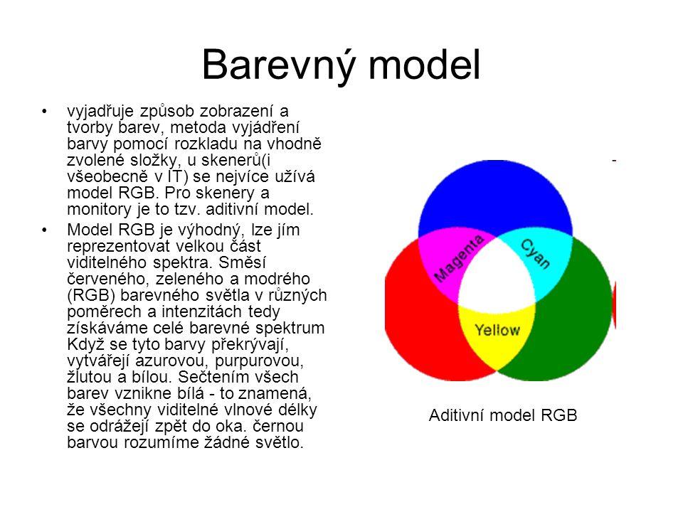 Barevný model vyjadřuje způsob zobrazení a tvorby barev, metoda vyjádření barvy pomocí rozkladu na vhodně zvolené složky, u skenerů(i všeobecně v IT) se nejvíce užívá model RGB.