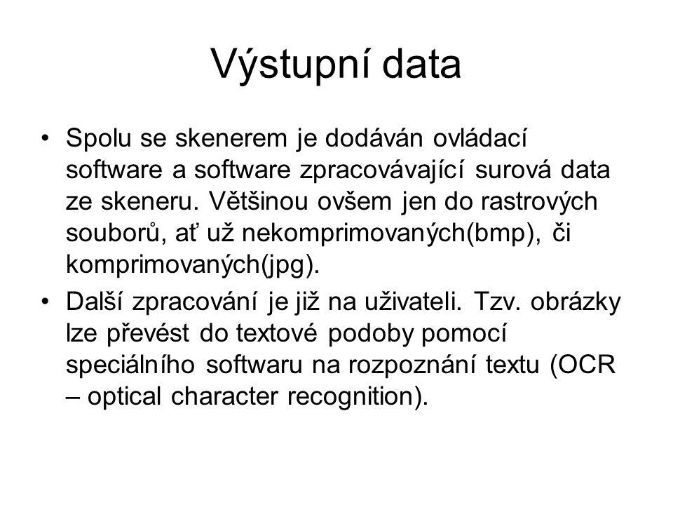 Výstupní data Spolu se skenerem je dodáván ovládací software a software zpracovávající surová data ze skeneru.