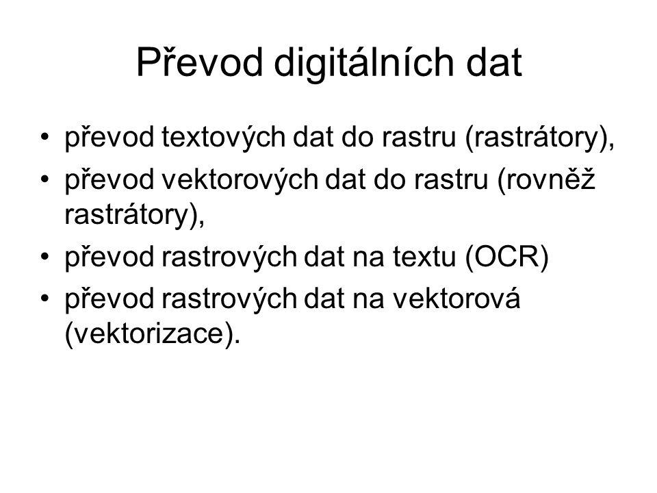 Převod digitálních dat převod textových dat do rastru (rastrátory), převod vektorových dat do rastru (rovněž rastrátory), převod rastrových dat na textu (OCR) převod rastrových dat na vektorová (vektorizace).