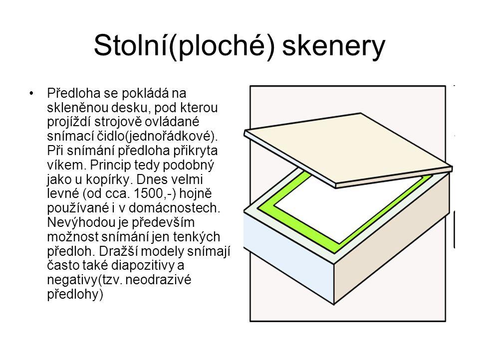 Stolní(ploché) skenery Předloha se pokládá na skleněnou desku, pod kterou projíždí strojově ovládané snímací čidlo(jednořádkové).