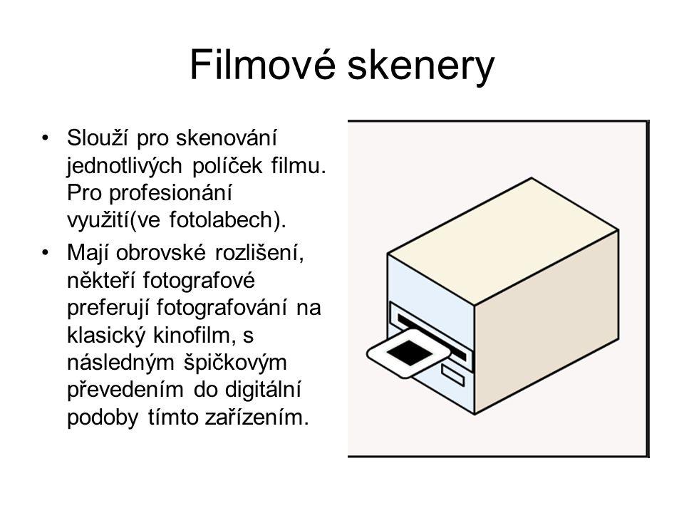 Filmové skenery Slouží pro skenování jednotlivých políček filmu.