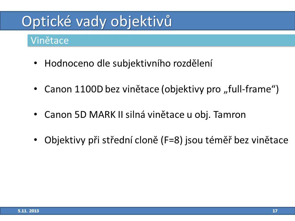 """17 Optické vady objektivů Vinětace Hodnoceno dle subjektivního rozdělení Canon 1100D bez vinětace (objektivy pro """"full-frame ) Canon 5D MARK II silná vinětace u obj."""