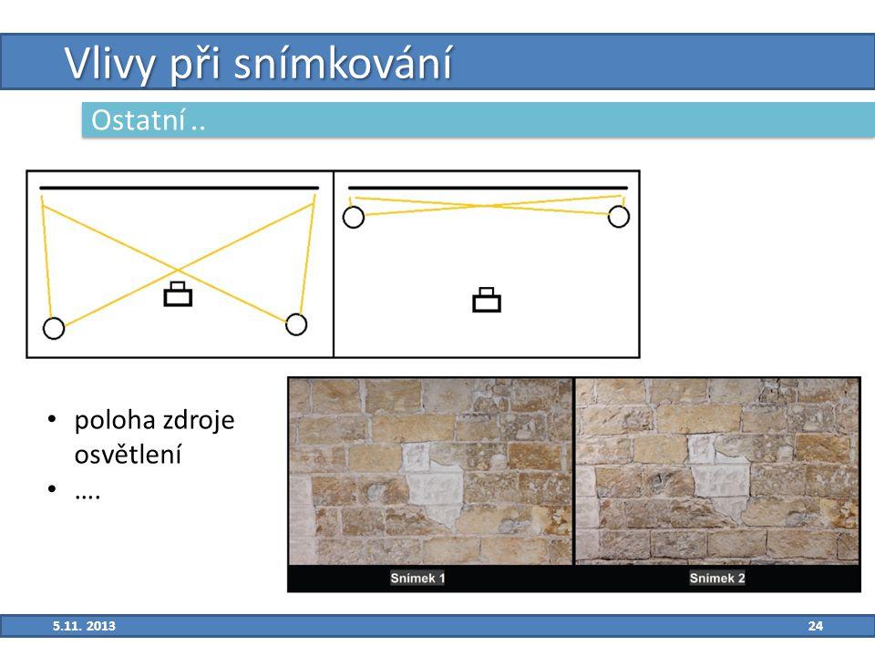 24 Vlivy při snímkování Ostatní.. 5.11. 2013 poloha zdroje osvětlení ….