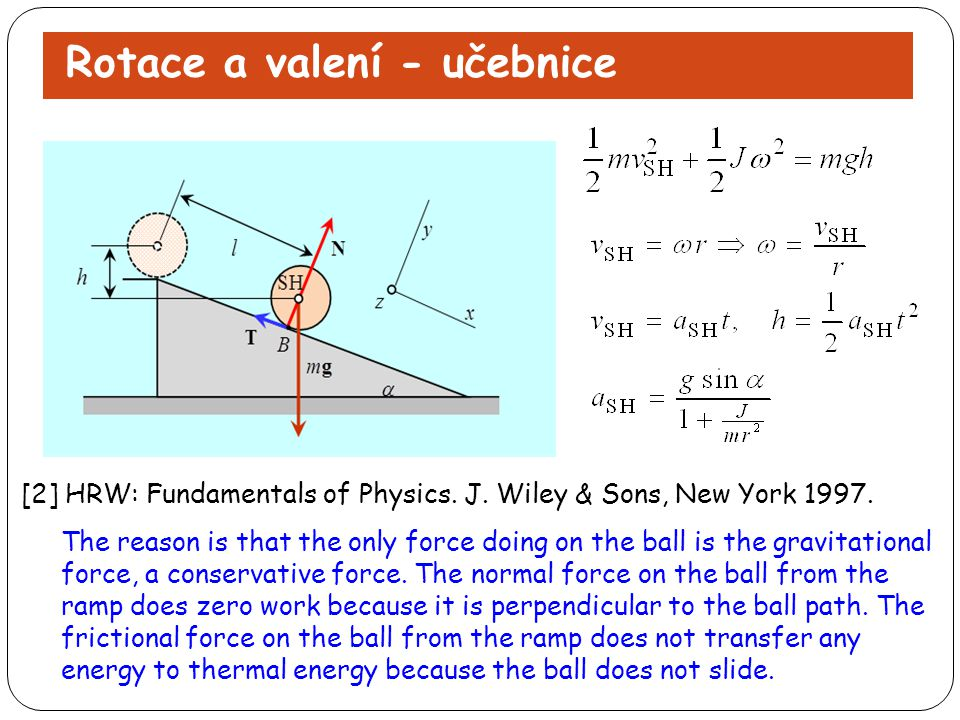 Rotace a valení - učebnice [2] HRW: Fundamentals of Physics. J. Wiley & Sons, New York 1997. The reason is that the only force doing on the ball is th