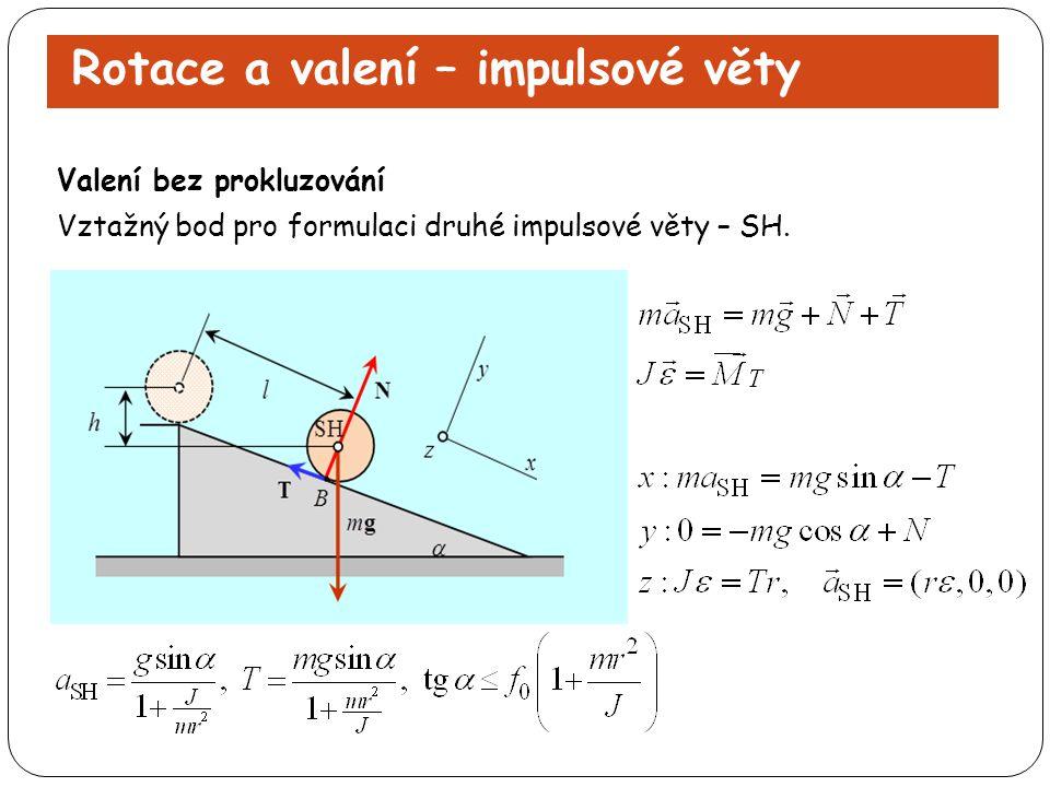 Rotace a valení – impulsové věty Vztažný bod pro formulaci druhé impulsové věty – SH. Valení bez prokluzování
