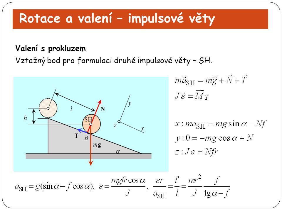Rotace a valení – impulsové věty Vztažný bod pro formulaci druhé impulsové věty – SH. Valení s prokluzem