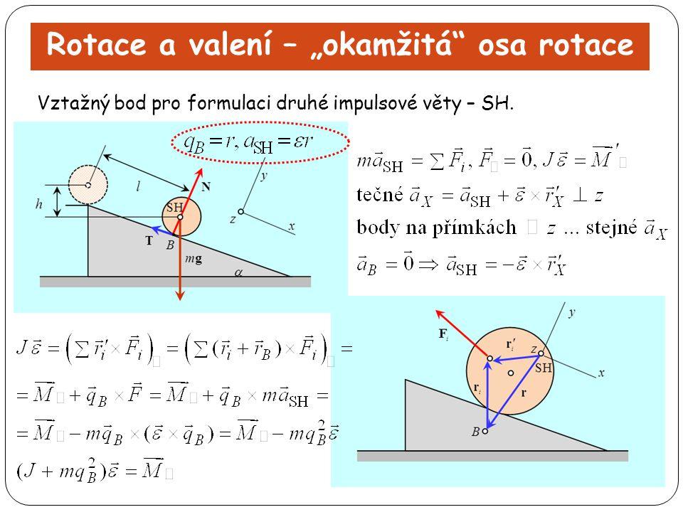 """Rotace a valení – """"okamžitá"""" osa rotace Vztažný bod pro formulaci druhé impulsové věty – SH."""