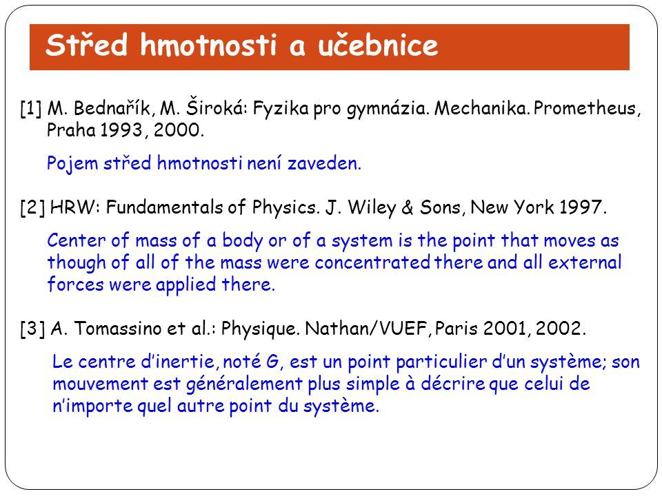 Střed hmotnosti a učebnice [1] M. Bednařík, M. Široká: Fyzika pro gymnázia. Mechanika. Prometheus, Praha 1993, 2000. Pojem střed hmotnosti není zavede