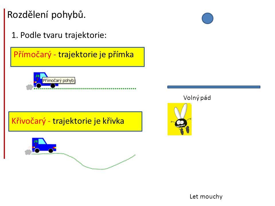 Rozdělení pohybů. 1. Podle tvaru trajektorie: Přímočarý - trajektorie je přímka Křivočarý - trajektorie je křivka Volný pád Let mouchy