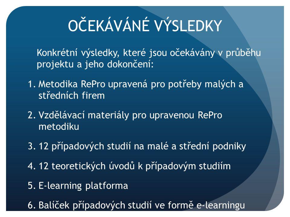 OČEKÁVÁNÉ VÝSLEDKY Konkrétní výsledky, které jsou očekávány v průběhu projektu a jeho dokončení: 1.Metodika RePro upravená pro potřeby malých a středn