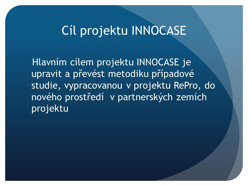 Cíl projektu INNOCASE Hlavním cílem projektu INNOCASE je upravit a převést metodiku případové studie, vypracovanou v projektu RePro, do nového prostředí v partnerských zemích projektu