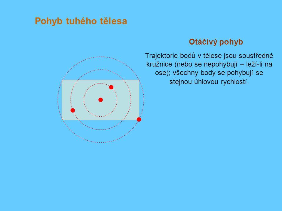 Pohyb tuhého tělesa Otáčivý pohyb Trajektorie bodů v tělese jsou soustředné kružnice (nebo se nepohybují – leží-li na ose); všechny body se pohybují se stejnou úhlovou rychlostí.